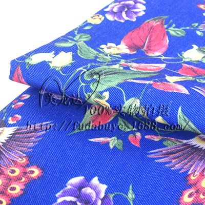145*90cm Full Polyester Canvas Peacock Plant Printed Fabric Spot Supply Heat Transfer Bag(China (Mainland))