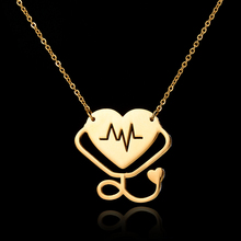 Buy 2017 New Body Chain Statement Choker Necklace Women Heart ECG Heartbeat Pendant Silver Rose Gold Chain Stethoscope Necklace for $1.90 in AliExpress store
