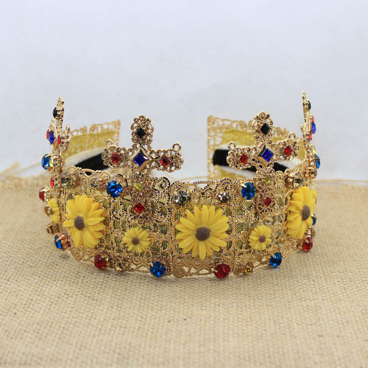 European Baroque crosses little Daisy flower Crown Jewel headband bridal hair accessories photo F123(China (Mainland))