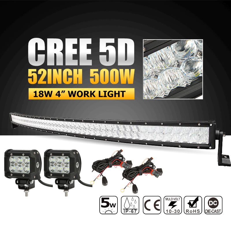 """52"""" CREE 5D LED Light Bar Offroad 500W Combo Curved Led Driving Light Bar+2pcs 18W Flood Led Work Lights for Truck ATV 4WD 4x4(China (Mainland))"""