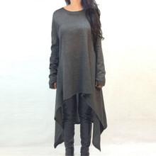 New Autumn Winter Women Dress Long Sleeve Knitted Sweater Dresses Fashion Irregular Hem Maxi Dress Plus Size S-3XL Vestidos(China (Mainland))