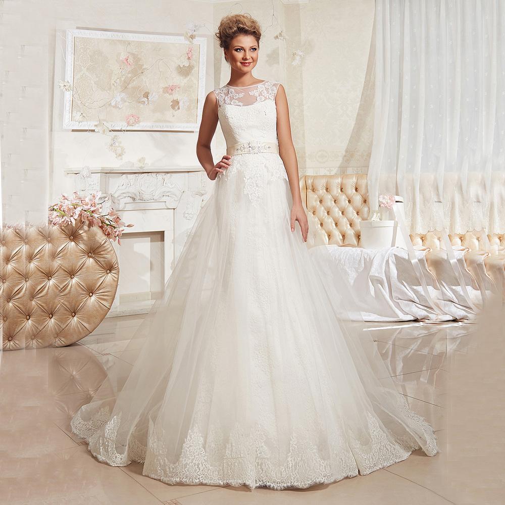 Халат де mariage abendkleider trouwjurk vestido де noiva 2016 А линия O шеи рукавов аппликация свадебное платье свадебное платье