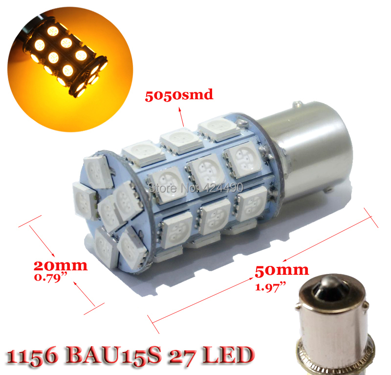 2pcs 1156 1157 27smd 5050 BA15S BAU15S BAY15D P21W led 324lm Car Brake Tail Turn signal light bulb 12V(China (Mainland))