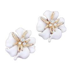 Charming Jewelry Popular Korean Flower Rhinestones Inlaid Starfish Shaped 1 Pair Ear Studs(China (Mainland))
