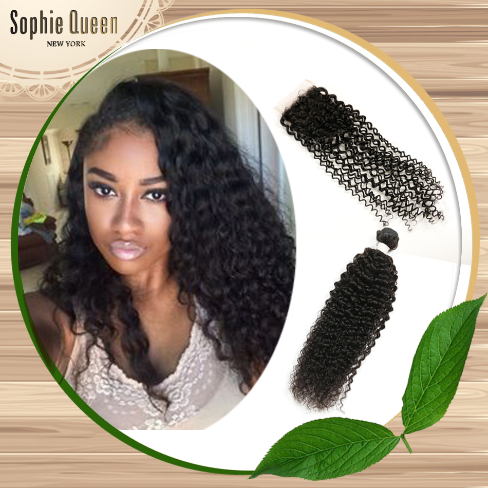 Malaysian Kinky Curly Virgin Hair With Closure Sale Promotion 3 Malaysian Bundles With Closure Beauty Forever Hair With Closure