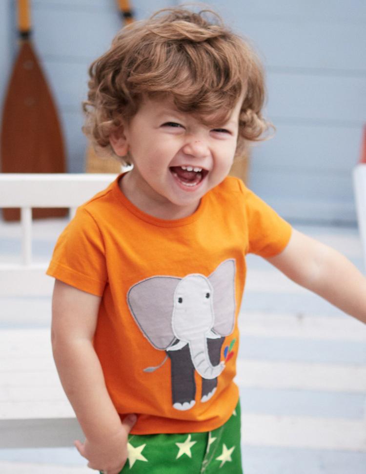 2015 Summer Baby Boys' Cartoon T-Shirt, Short-Sleeve Cartoon Elephant Applique Tee, Kids T-Shirt Kids Clothes Children Clothing(China (Mainland))
