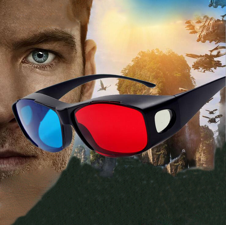 2PCS Black Frame Red Blue Version Virtual Reality Glasses Fast Shipping 3D Glasses Active For Movies DVD TV Wholesales Lots(China (Mainland))