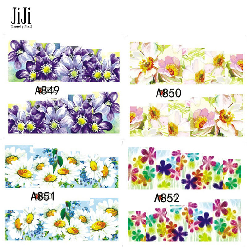 Jiji Trendy Nail 1xFashion Colorful Flowers Nail Art Water Transfer Sticker Nail Art Tips Wraps DIY Beauty Accessories A849-852(China (Mainland))