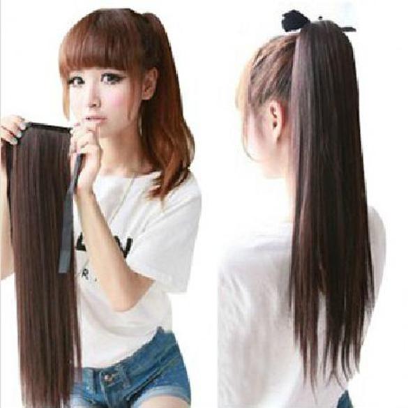 Гаджет  Long Lady Girl Straight Ponytail Wigs Hair Hairpiece Extension Dark Brown None Волосы и аксессуары