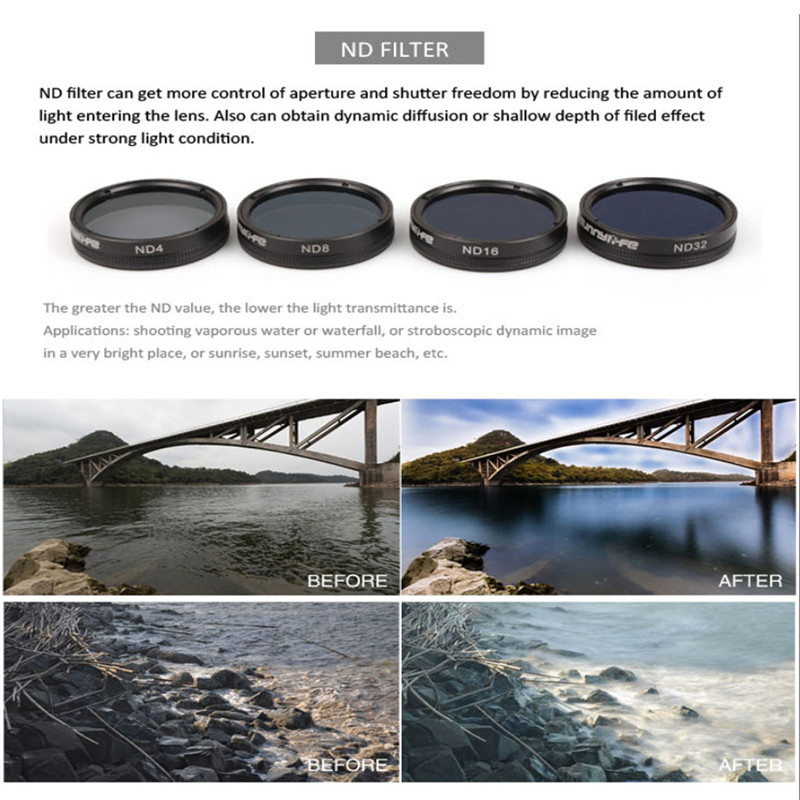 HD Filter ND ND4/8/16/32 Camera Lens Filters for Suitable for DJI Phantom 4 PRO / PRO+ Drone Accessories