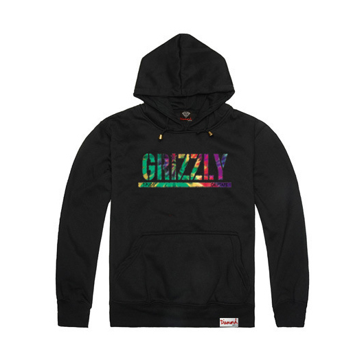 2015 New Grizzly hoodies Diamond Supply mens Graphic Sweatshirt Grizzly brand crewneck pullover hooded sweatshirt thick,ZA065(China (Mainland))