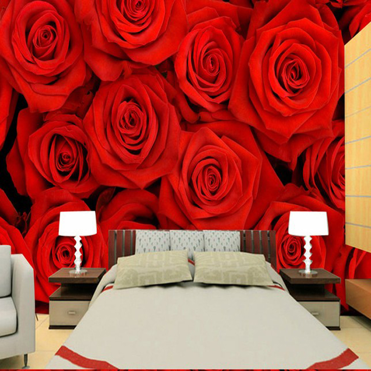 Free Shipping 3D Red rose wallpaper bedroom TV sofa background wall marriage room wallpaper purple pink roses wallpaper mural(China (Mainland))