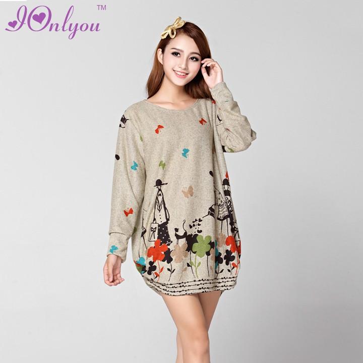 Womenu0026#39;s Korean Fashion Cute Loose Casual Long Sleeve Knitting Dress Sweater Dress Knitwear-in ...