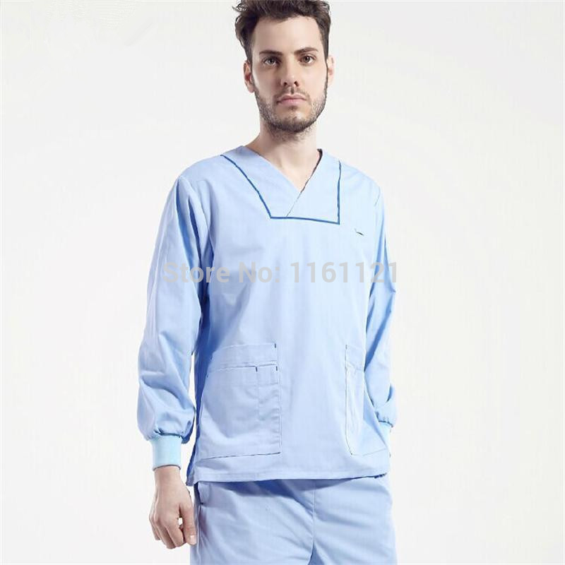 Nursing Scrubs Surgical Cap New 2015 Unisex V Shape Neck Hospital Medical Scrub Set Clothes Long Sleeve free Shipping Surgical(China (Mainland))