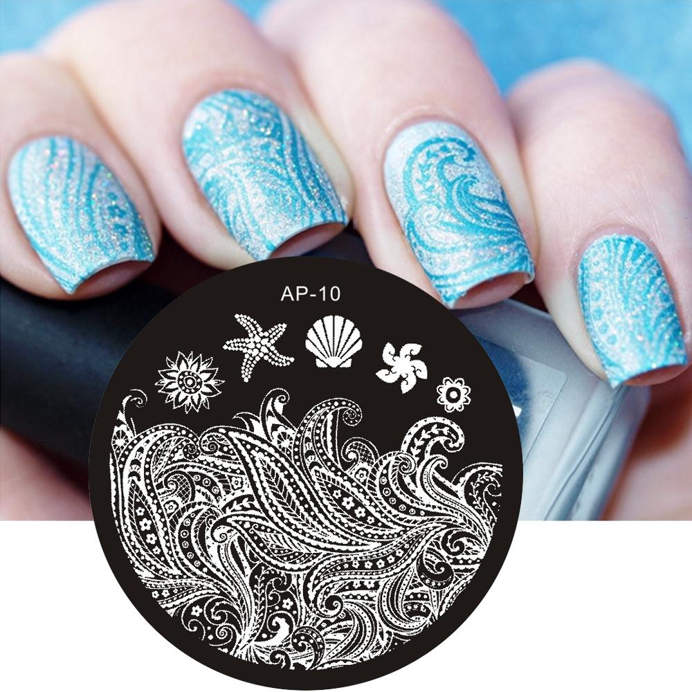 Pandox AP10 Starfish & Shell Theme Nail Art Stamp Template Image Plate Stamping Plates(China (Mainland))