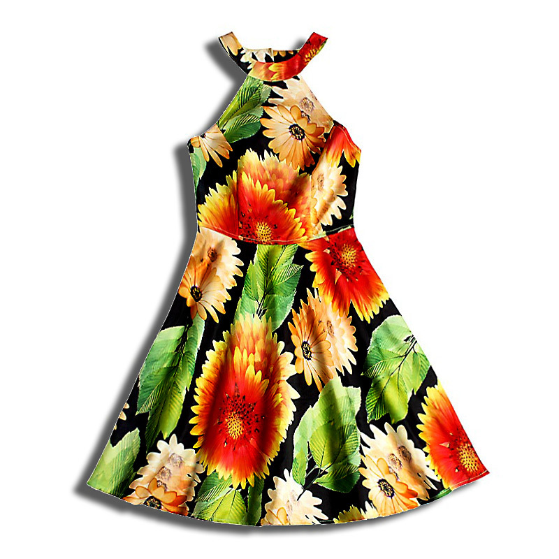 Sexy club or party dress 2015 new arrivals beach printing A-line women's summer O-neck cute mini dresses cheap clothes china(China (Mainland))