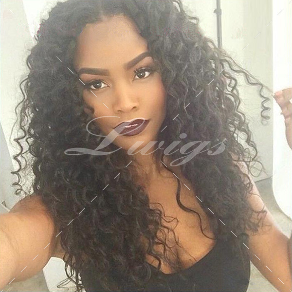 Hot Sale Brazilian Curly Glueless Full Lace Human Hair Wigs For Black Women Kinky Curly Human Hair Lace Front Wig Free Shipping(China (Mainland))