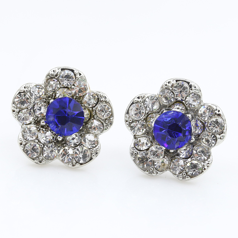 Flower Crystal Stud Earrings For Women Silver Cubic Zirconia Blue Rhinestone Earring Fashion Ear Jewelry Accessories Pendientes(China (Mainland))