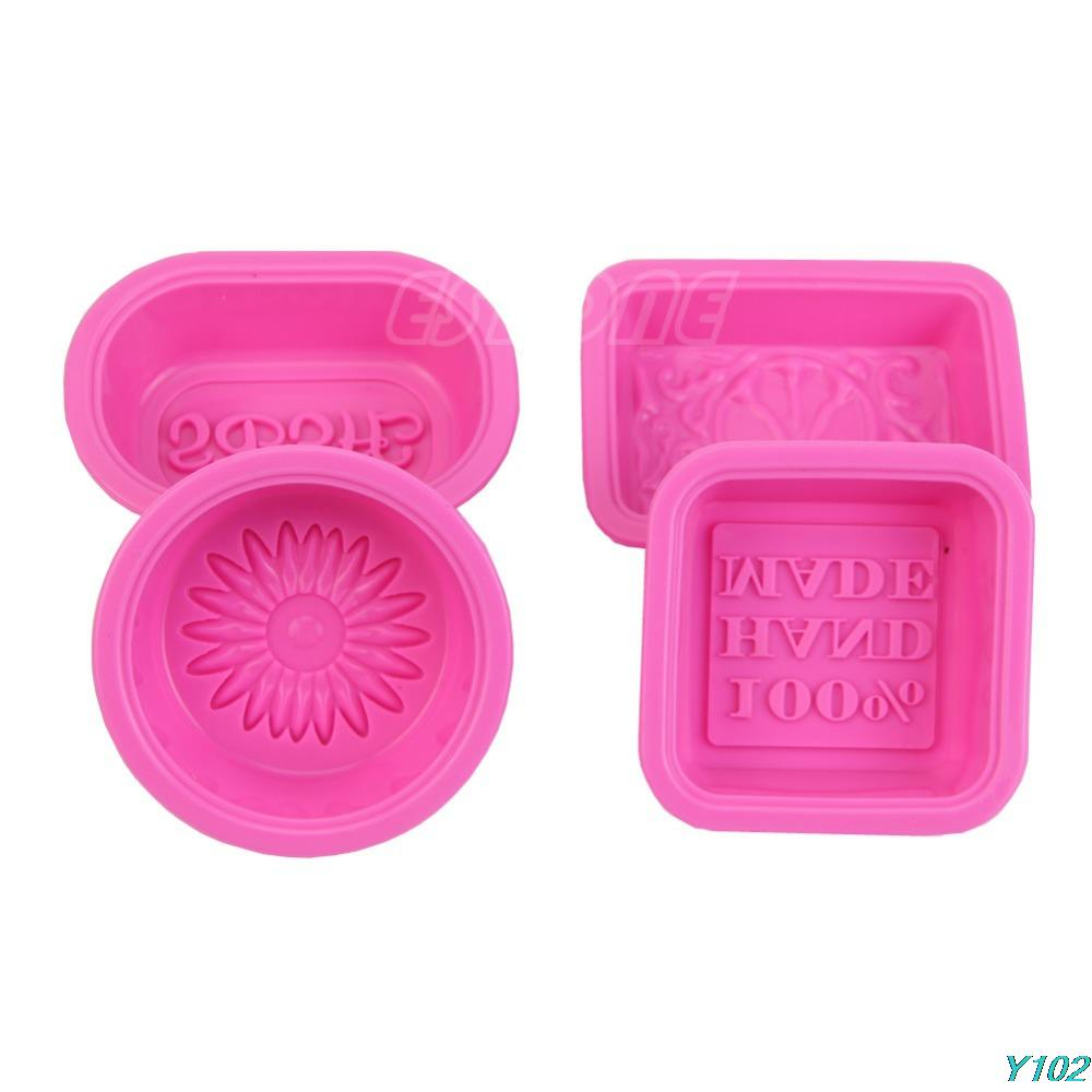 Free shipping 4pcs Silicone 100% Hand Made Soap Candle Cake Chocolate Mold Craft DIY Mould Set-102(China (Mainland))