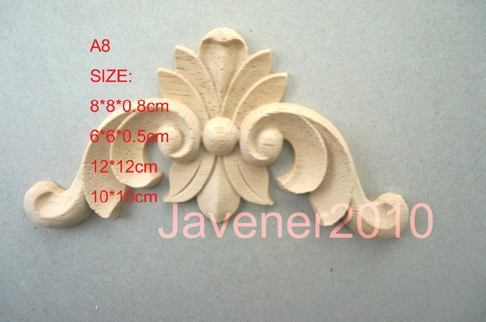 A8- 6*6*0.5cm Rubber Wood Carved Carving Corner Onlay Applique Architectural Cabinet Furniture Door Unpainted European style(China (Mainland))
