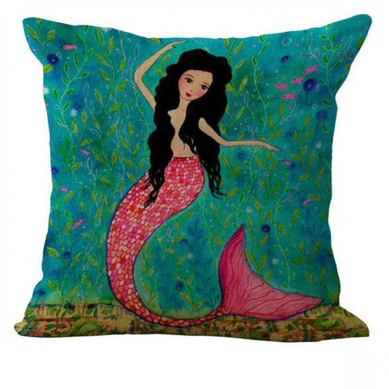 Mediterranean Style Cartoon Animation Mermaid Linen Kids Throw Pillow Case Rooms Bedside Pillowcase For Girls Gift