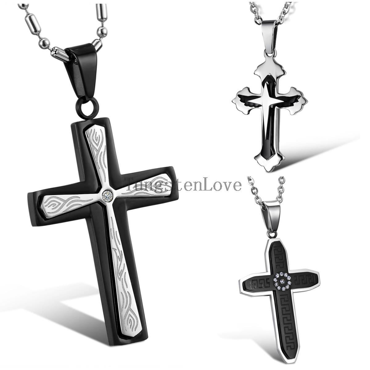 2015 New 316L Stainless Steel Vin Diesel Cross Pendant Necklace with 22 Inch Chain Gift for Men collar hombre(China (Mainland))