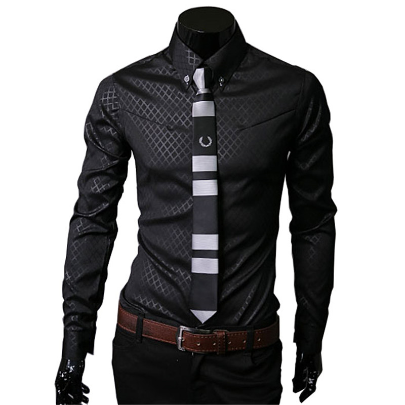 New Arrive 2015 brand New TOP Mens Designer Dark Stripes Dress Shirts Tops Casual Slim long shirts Plus Size M To 5XL(China (Mainland))