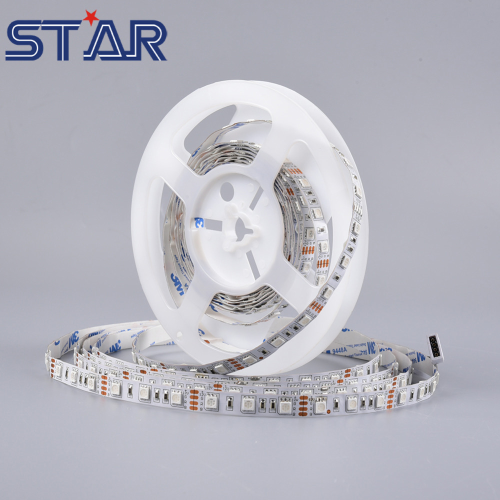 5m LED Strip Light SMD 5050 12V 60leds/m Flexible LED Tape Ribbon Ledstrip Lighting Lamps Non-Waterproof White RGB Warm White(China (Mainland))