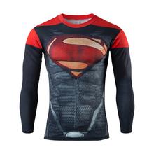 Autumn Winter Superhero Superman/Batman/Spiderman Men Long Sleeve T Shirt Compression Tights Tops Fitness Running Sports T-shirt