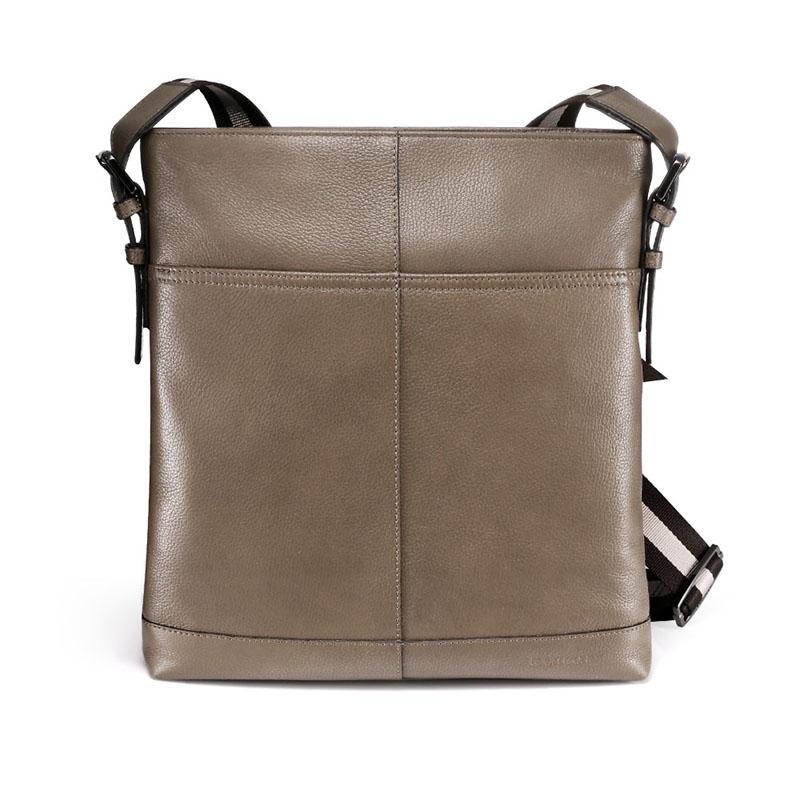 Simple fashion rivets style mens genuine leather business casual messenger shoulder bag tablet satchel cross body book bag black<br><br>Aliexpress