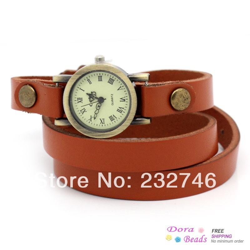 "hot- Leatheroid Adjustable Watch Round Orange Arabic Numerals 63.5cm long (25""),1Piece (B28884)(China (Mainland))"