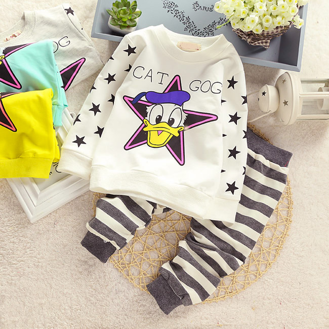 2015 New fashion cotton spring unisex baby clothing sets children boys cute suits babies tops+pants 2pcs set infant girl clothes(China (Mainland))