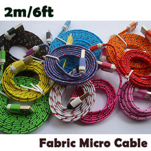 Buy Wholesale 2M/6ft Fabric Woven Nylon Flat Micro USB 5Pin Data Sync Cable Samsung/ HTc,factory price! for $86.88 in AliExpress store