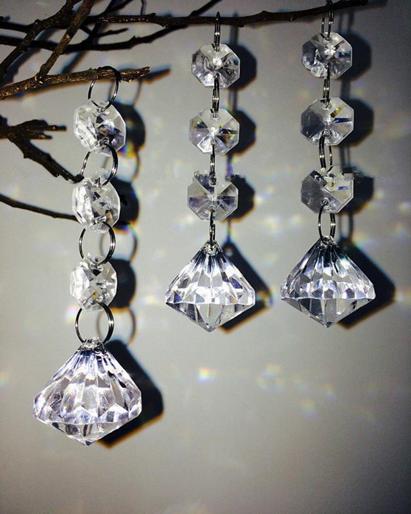 12pcs Clear Acrylic Crystal Beads Diamond Shape Garland Chandelier Hanging Wedding Party Decor,14mm Beads Decoration Mariage(China (Mainland))
