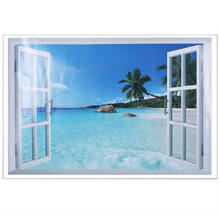 Removable PVC Material 3D Window Nature View Art Wall Sticker Decal Home Room Kitchen Decor(China (Mainland))