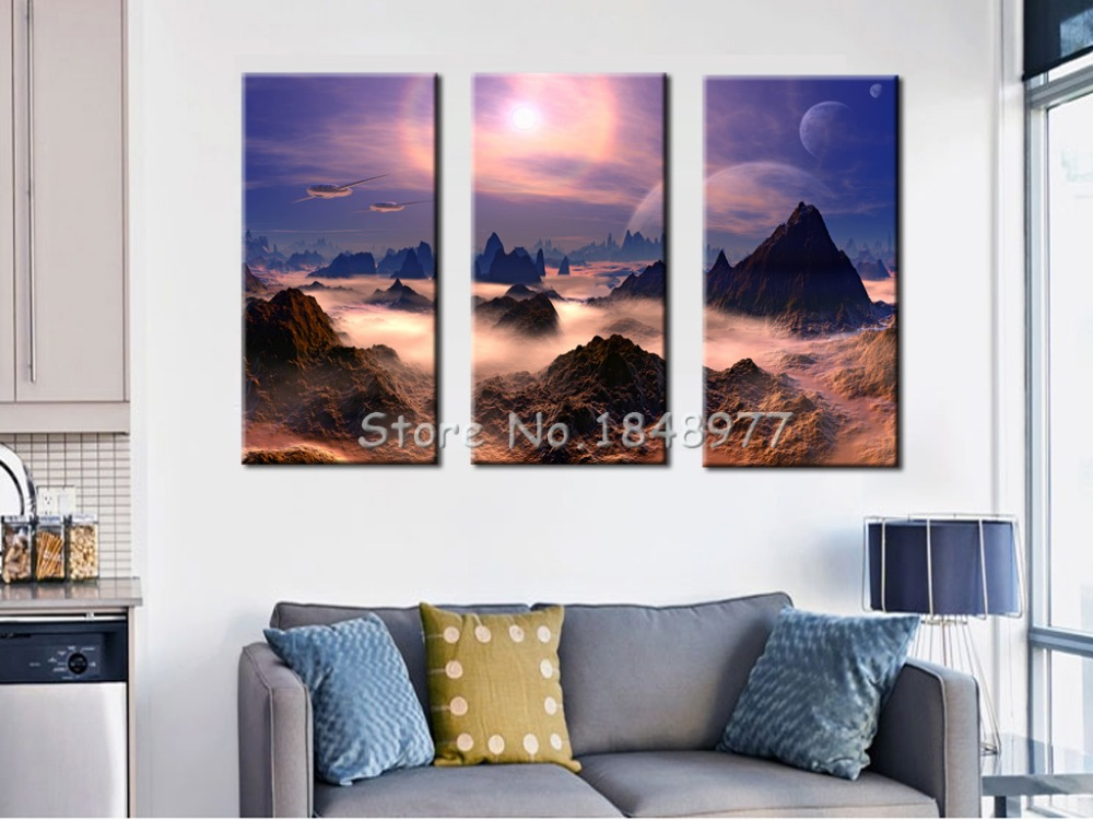 3 Pcs(No Frame) Modern Wall Art Outer Space Landscape Picture Print Painting On Canvas Home Decor For Living Room(China (Mainland))
