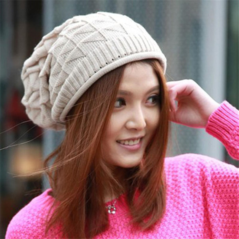 New Fashion Women Lady Girls Triangle Diamond Warm Knitted Wool Hats Cap,Hot Sale Winter warm Hat for Women Laydies(China (Mainland))