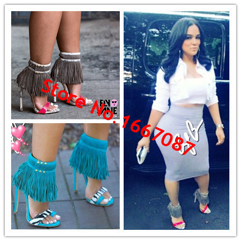 Full Grain Leather Style Fashion Emily Fetish Addict Dope Fringle Gladiator Strappy Women Sandals Boots High Heels Shoes Woman(China (Mainland))