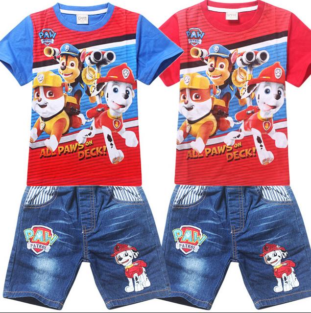Детская одежда установить щенок патруль детский спортивный костюм мультфильм комплектов одежды с коротким рукавом + джинсы брюки детская одежда