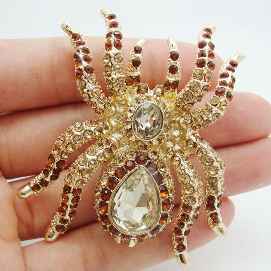 Rhinestone Brooch Vintage Style Topaz Crystal Rhinestone Halloween Spider Gold-plated Brooch Pin(China (Mainland))