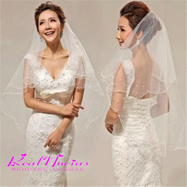 2015 Wedding Dress Fashion Bridal Veils Satin Edge Two Layer Accessory Elegant Veil Hot Selling Simple 2156 - RealNovias Dresses Flagship Store store