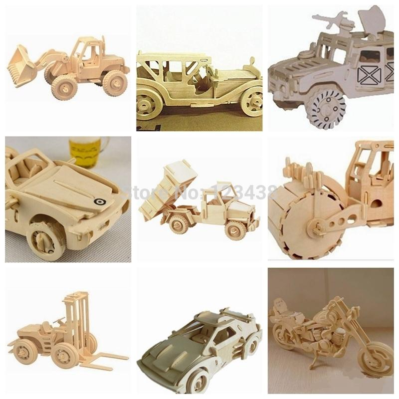 Vehicles Wooden 3D Puzzle Assembling DIY Engineering Car Dump Truck Lorry Scale Miniature Model Educational Toys(China (Mainland))