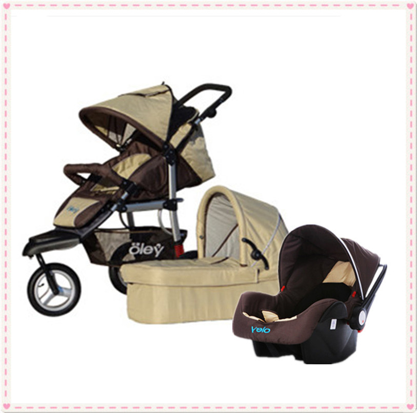 High Quality Aluminum Alloy Made 3 In 1 Kids Car Prams +Car Seat+Carry Cot Toddler Stroller 3 In 1 With 5 Point Harness Seat<br>