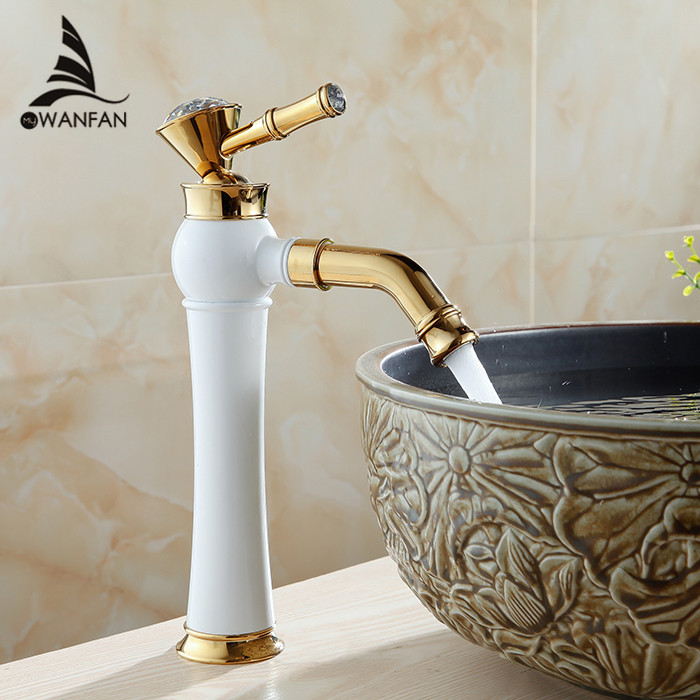 Newly Grilled White Paint Golden Polished Faucets Bathroom Basin Sink Mixer Tap Faucet Hot and cold water AL-7309DK(China (Mainland))