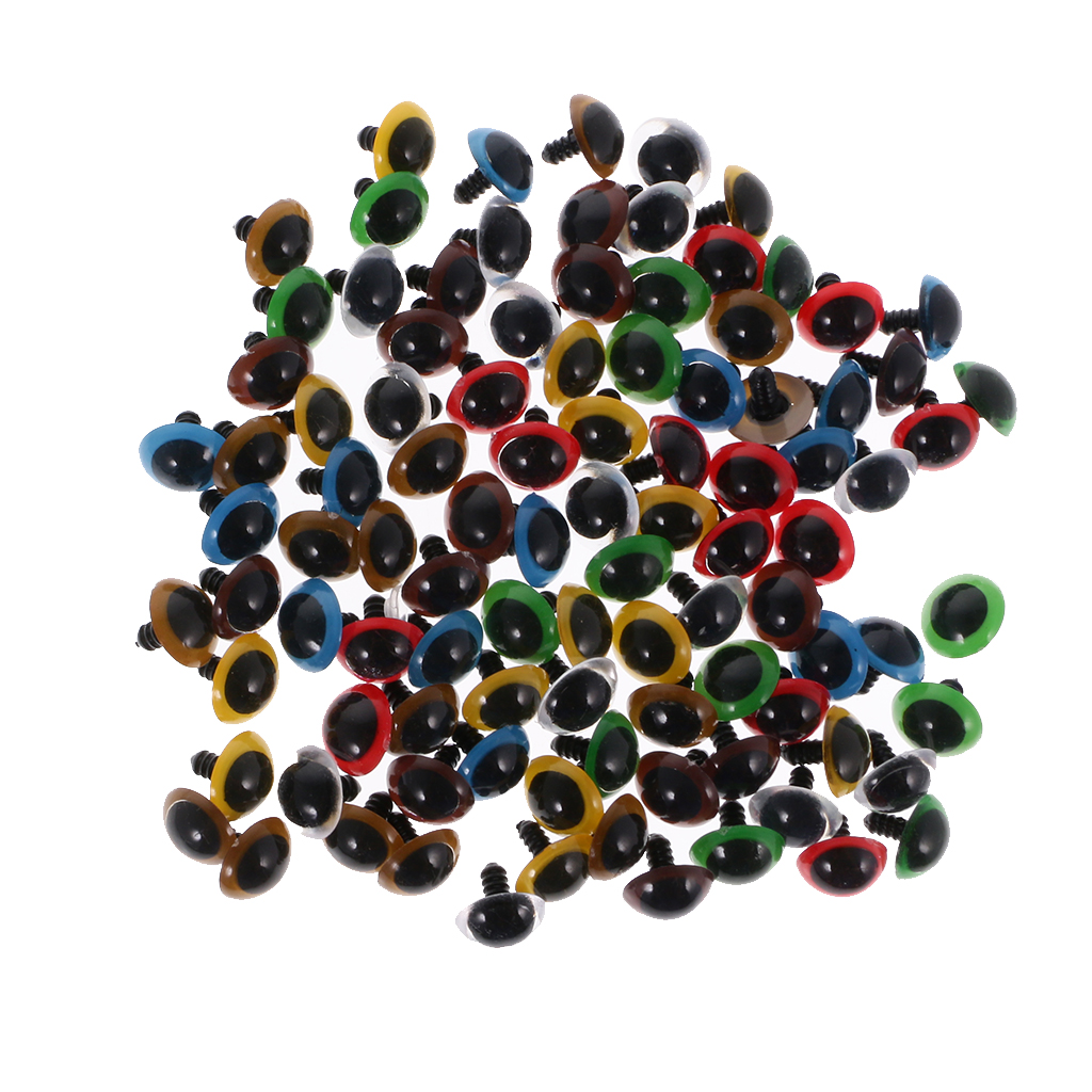 100 Pieces Mixed Color Plastic Safety Eyes with Washers for Teddy Bear Animal DIY Supplies Doll Making 10/12/14/18/20mm Doll Acc