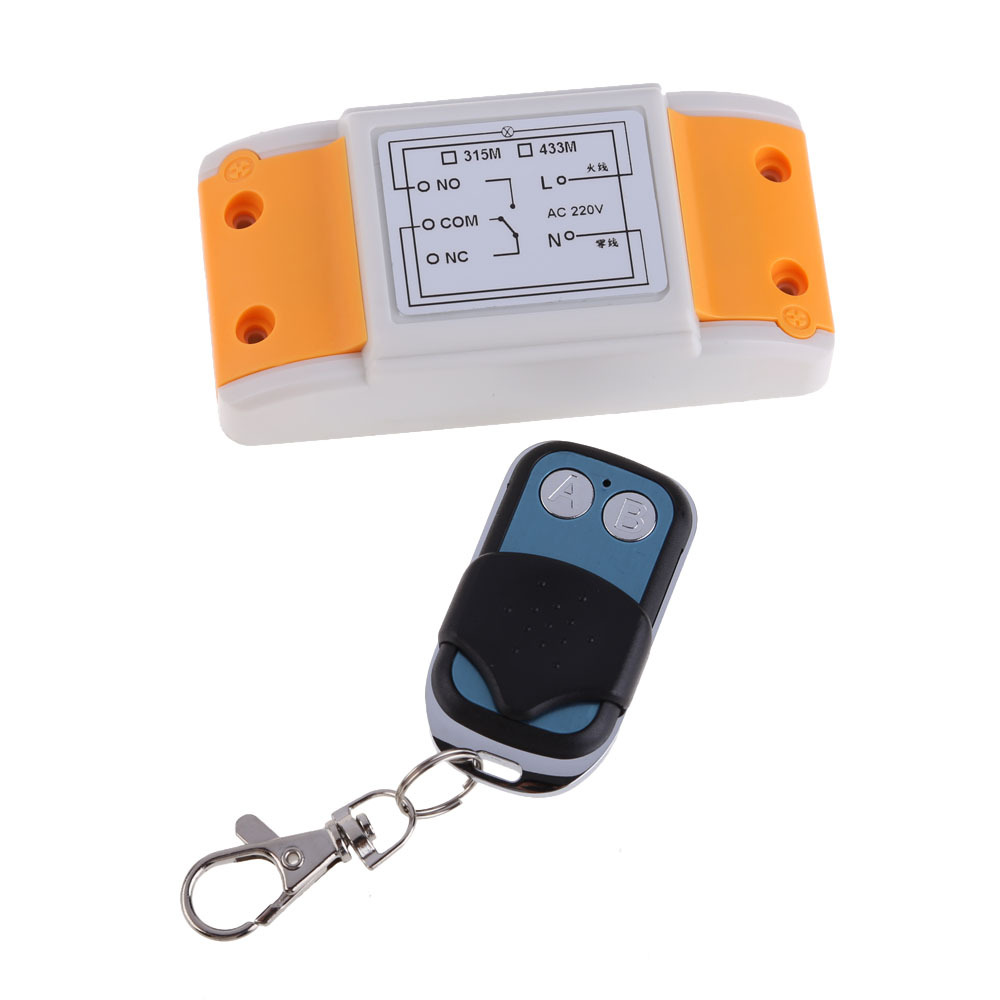 High Quality AC220V 1CH 1 Receiver and 2 Button Remote Control RF Wireless Transceiver NG4S(China (Mainland))