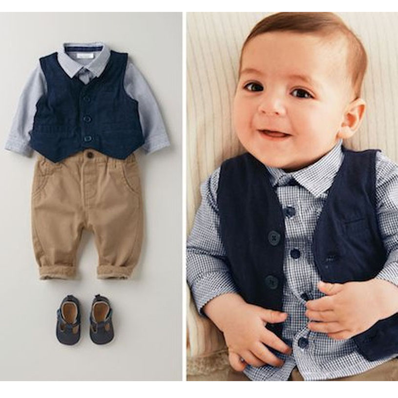 Spring Infant Clothing Handsome Baby Boys Clothes European Style Camisa Infantil Menino Three Piece Brand Baby Clothing Set(China (Mainland))
