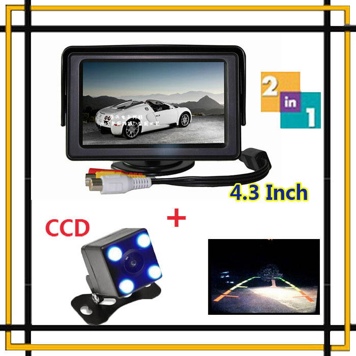 "2015 4.3"" Color Tft Vehicle Screen Auto Monitor + CCD LEDs Car Back up Reverse Night Vision Camera Parking system Assistance(China (Mainland))"