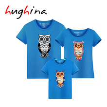 Hughina Happy Family Clothing Brand Dad Mon Baby Clothes Cotton T Shirts Father Son Suits Mother Daughter Matching T Shirt 1647(China)