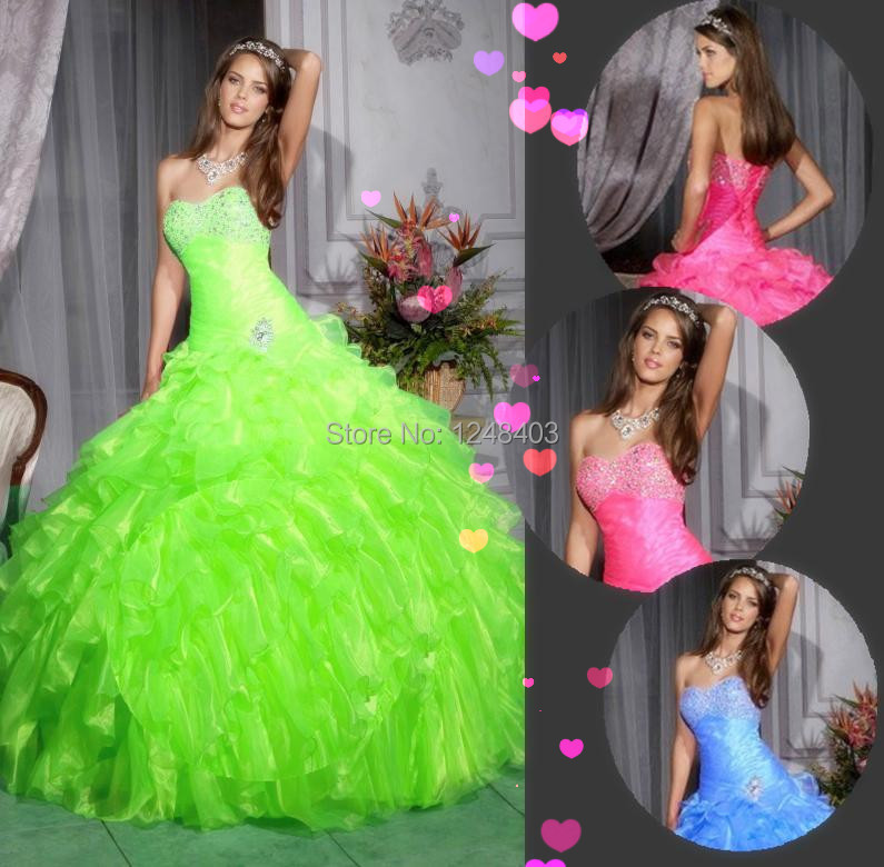Cheap Beaded Sweetheart Natural Waist Organza Blue / Fuchsia Lime Green Quinceanera Dresses Stock - Dream blue wedding dresses store